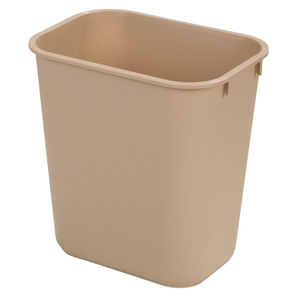 Carlisle 34291306 13-qt Rectangle Waste Basket - Plastic, Beige