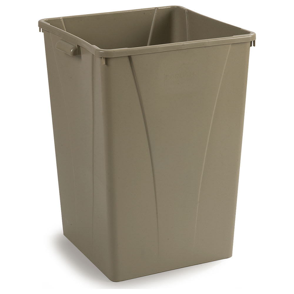 Carlisle 34393506 35 gallon Commercial Trash Can - Plastic, Square, Built-in Handles
