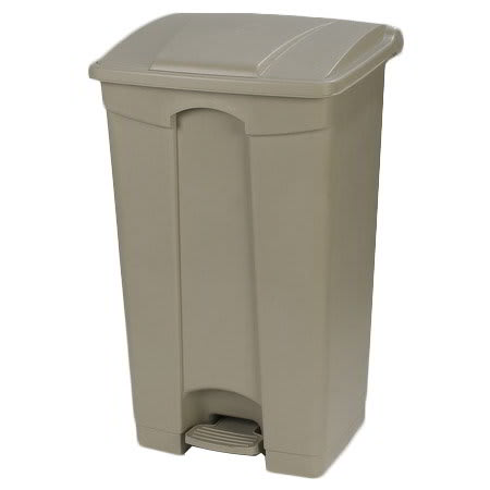 "Carlisle 34614406 12-gal Rectangle Plastic Step Trash Can, 23.62""L x 16.14""W x 15.67""H, Beige"