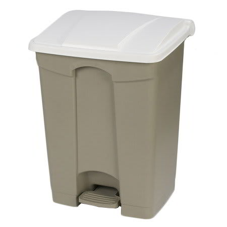 "Carlisle 34614502 18-gal Rectangle Plastic Step Trash Can, 26.38""L x 19.69""W x 15.67""H, Beige"