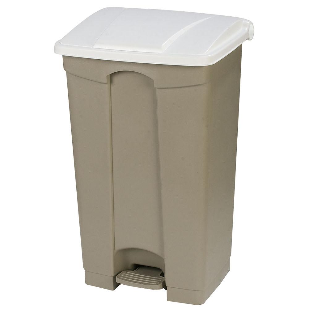 "Carlisle 34614602 23-gal Rectangle Plastic Step Trash Can, 19.69""L x 16.14""W x 32.28""H, Beige"