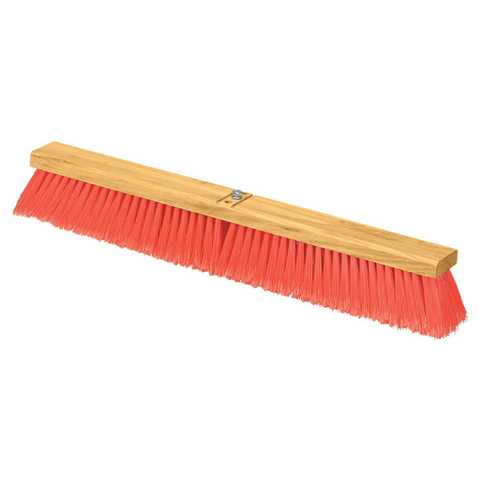 "Carlisle 3610222424 24"" Floor Sweep - Fine/Medium Block, Hardwood Block, 3"" Orange Poly Bristles"