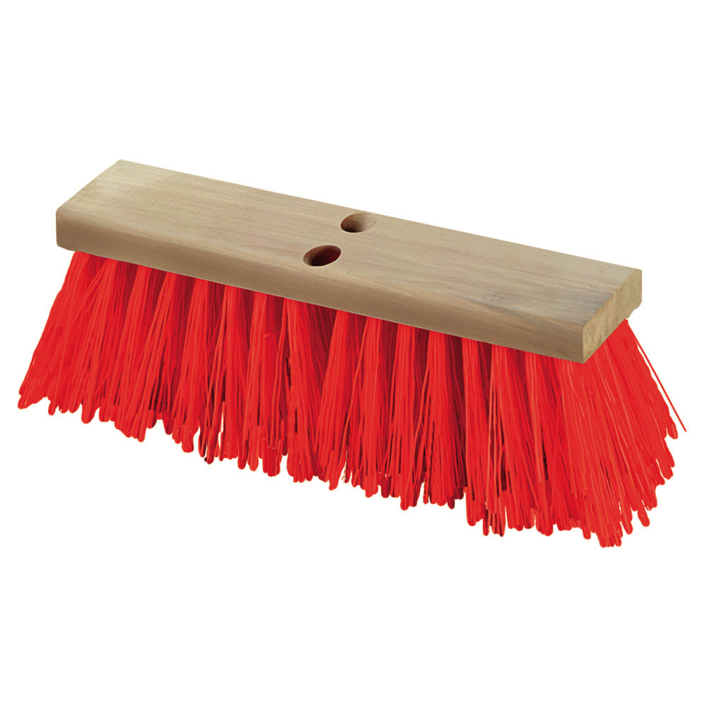 "Carlisle 36111824 18"" Polypropylene Heavy-duty Street Sweep - Hardwood Block w/ 5-1/8"" Orange Poly Bristles"
