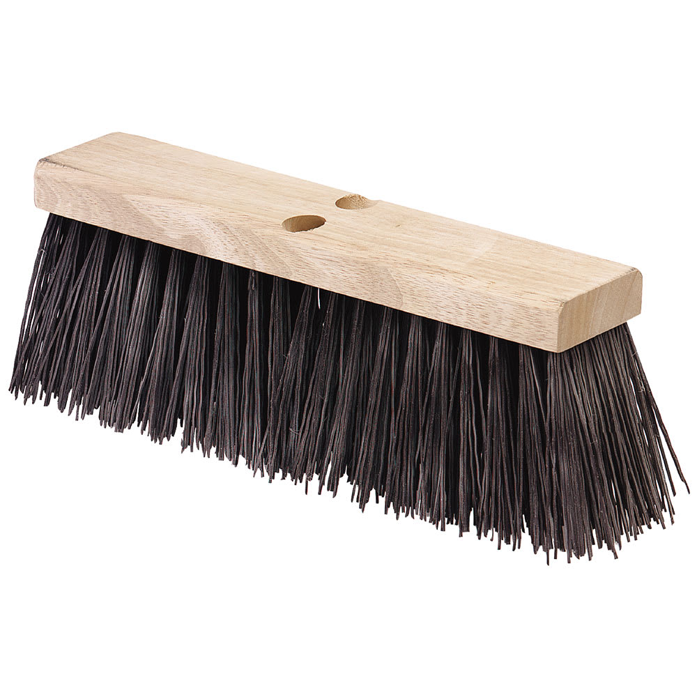 "Carlisle 3611301601 16"" Street Sweep Head - Hardwood Block, 5 1/8"" Crimped Bristles, Poly, Brown"
