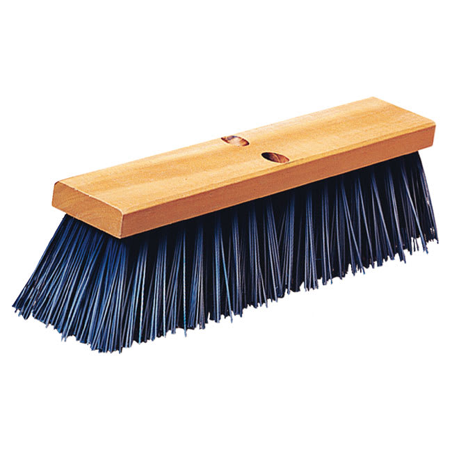 "Carlisle 3611401614 16"" Street Sweep - Heavy, Hardwood Block, 5-1/8"" Blue Poly Bristles"