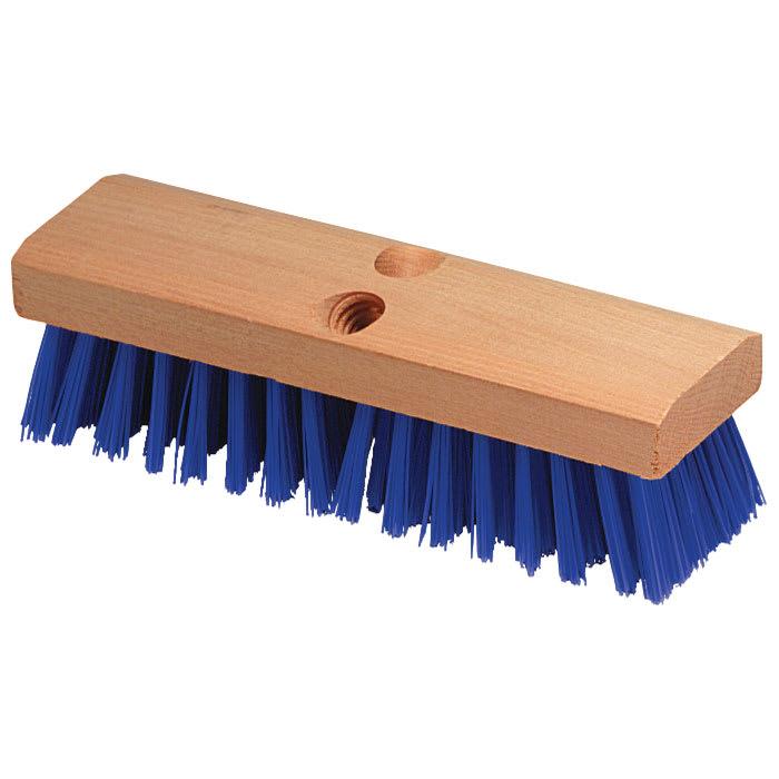 "Carlisle 3617514 10"" Deck Scrub Brush Head - Poly/Hardwood, Blue"