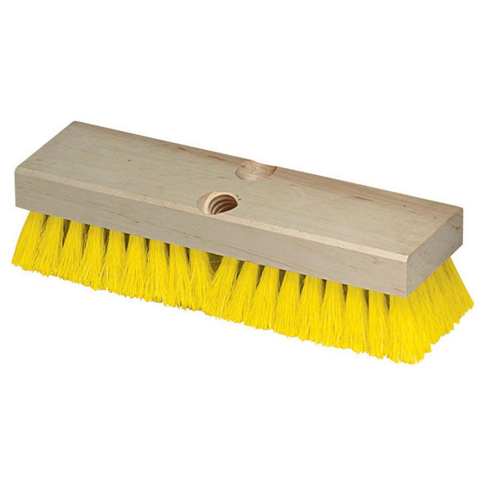 "Carlisle 36193MX04 10"" Deck Scrub Brush - Poly/Hardwood, Yellow"