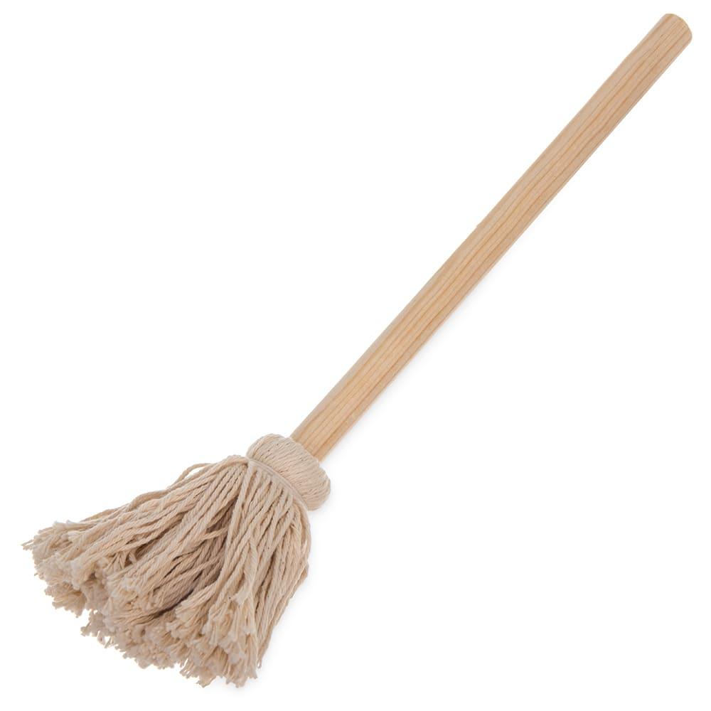 "Carlisle 3623200 10"" Bowl Mop - Cotton Mop Head, Smooth Wood Handle"
