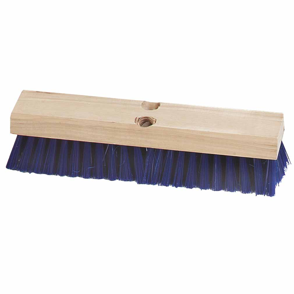 "Carlisle 3627514 12"" Deck Scrub Brush Head - Poly/Hardwood, Blue"