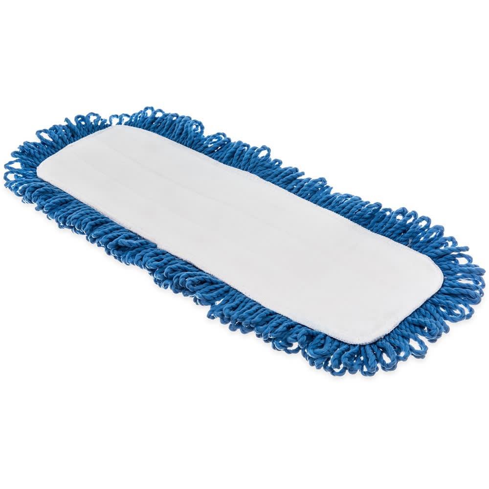 "Carlisle 363311814 18"" Dry Mop Pad - Electrostatic, Looped Fringe, Blue"
