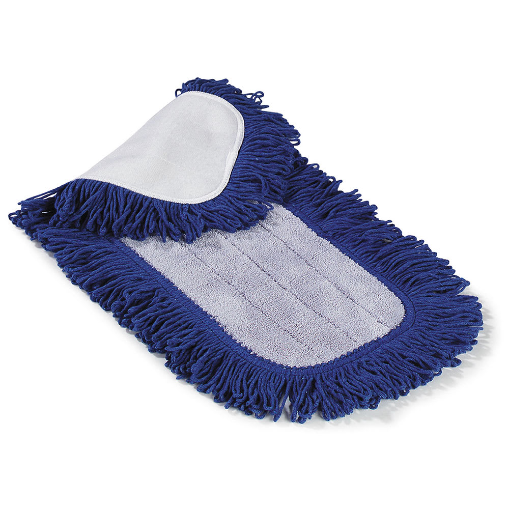 "Carlisle 363312414 24"" Dry Mop Pad - Electrostatic, Looped Fringe, Blue"