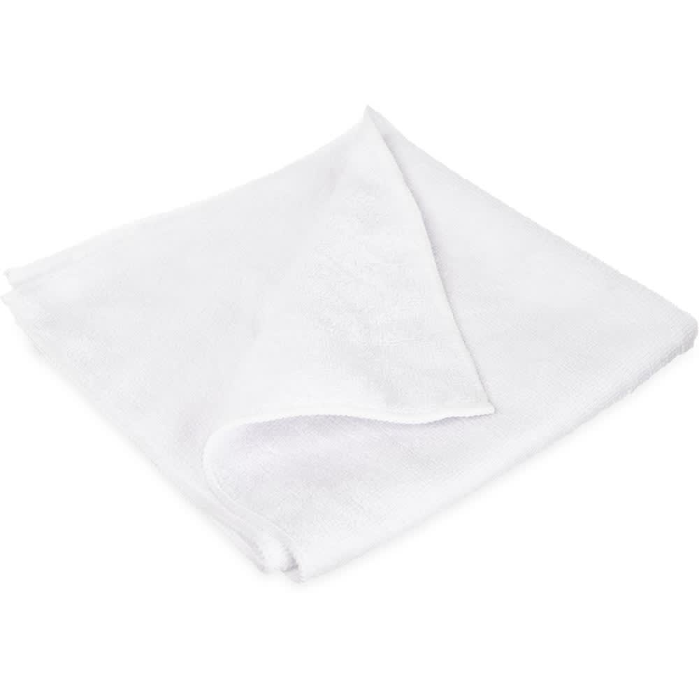 "Carlisle 3633402 16"" Square Microfiber Cleaning Cloth - Suede Finish, White"