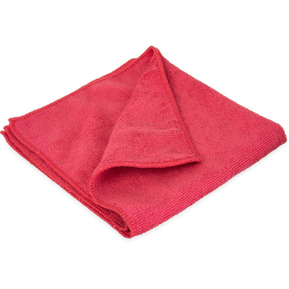 """Carlisle 3633405 16"""" Square Microfiber Cleaning Cloth - Suede Finish, Red"""