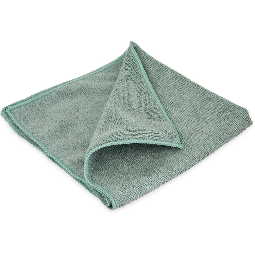 """Carlisle 3633409 16"""" Square Microfiber Cleaning Cloth - Suede Finish, Green"""