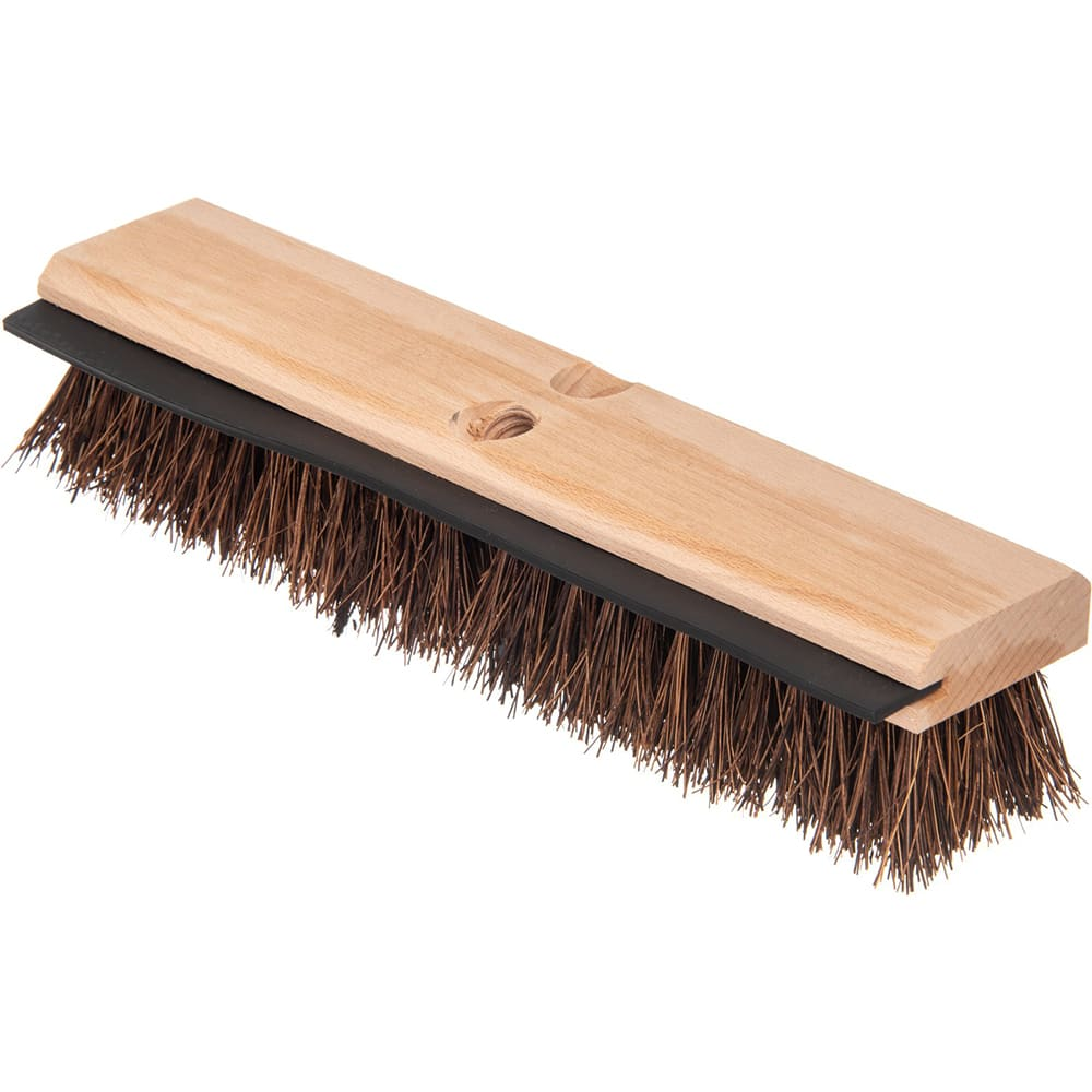 "Carlisle 3639500 14"" Floor Scrub Brush with Squeegee - Palmyra/Wood"
