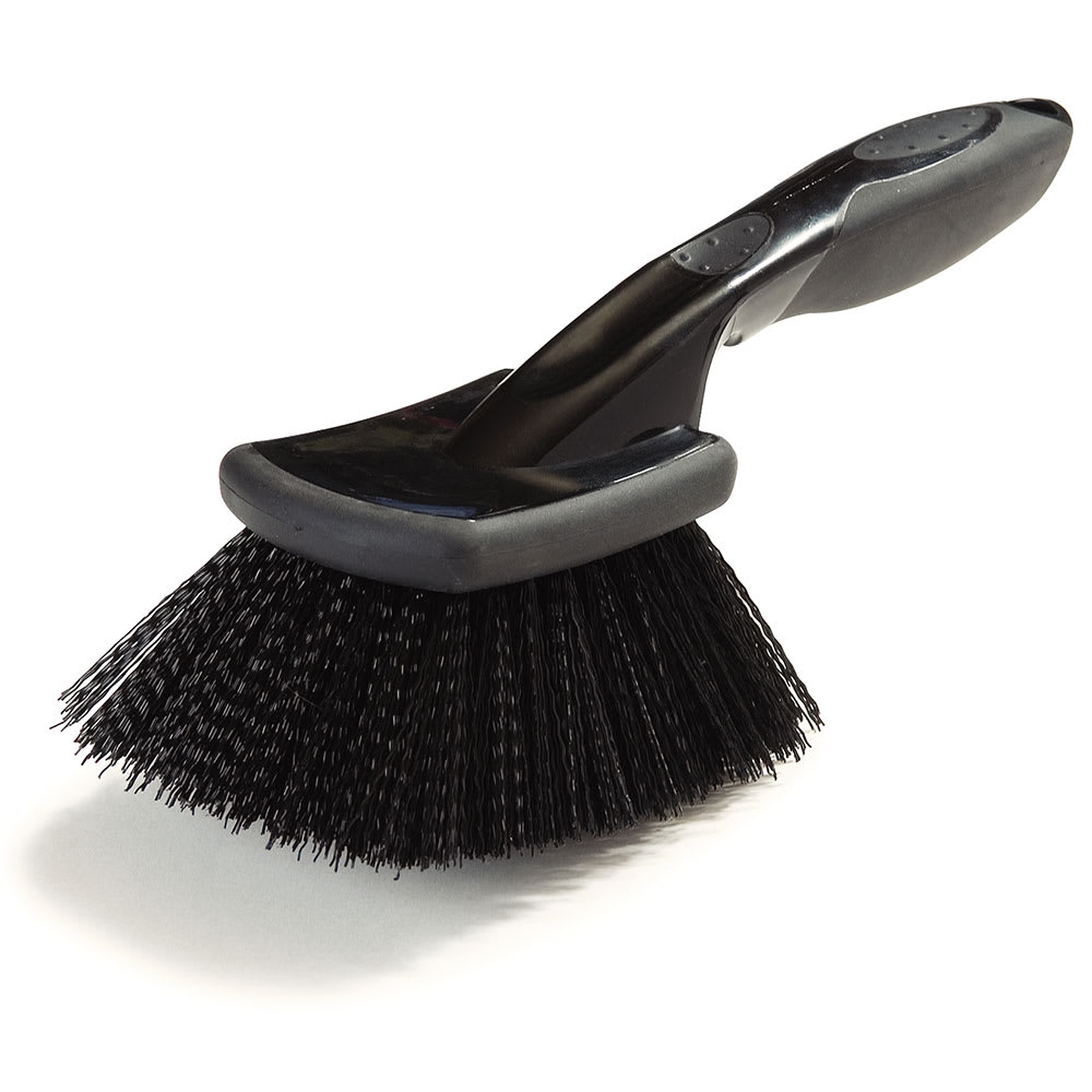 "Carlisle 3650603 8"" Utility Scrub Brush - Poly/Rubber, Black"