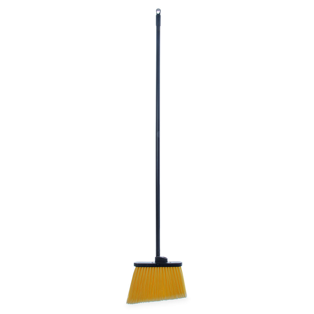 "Carlisle 3686500 48"" Lobby Angle Broom - Black Metal Handle, Flagged Polypropylene Bristles"