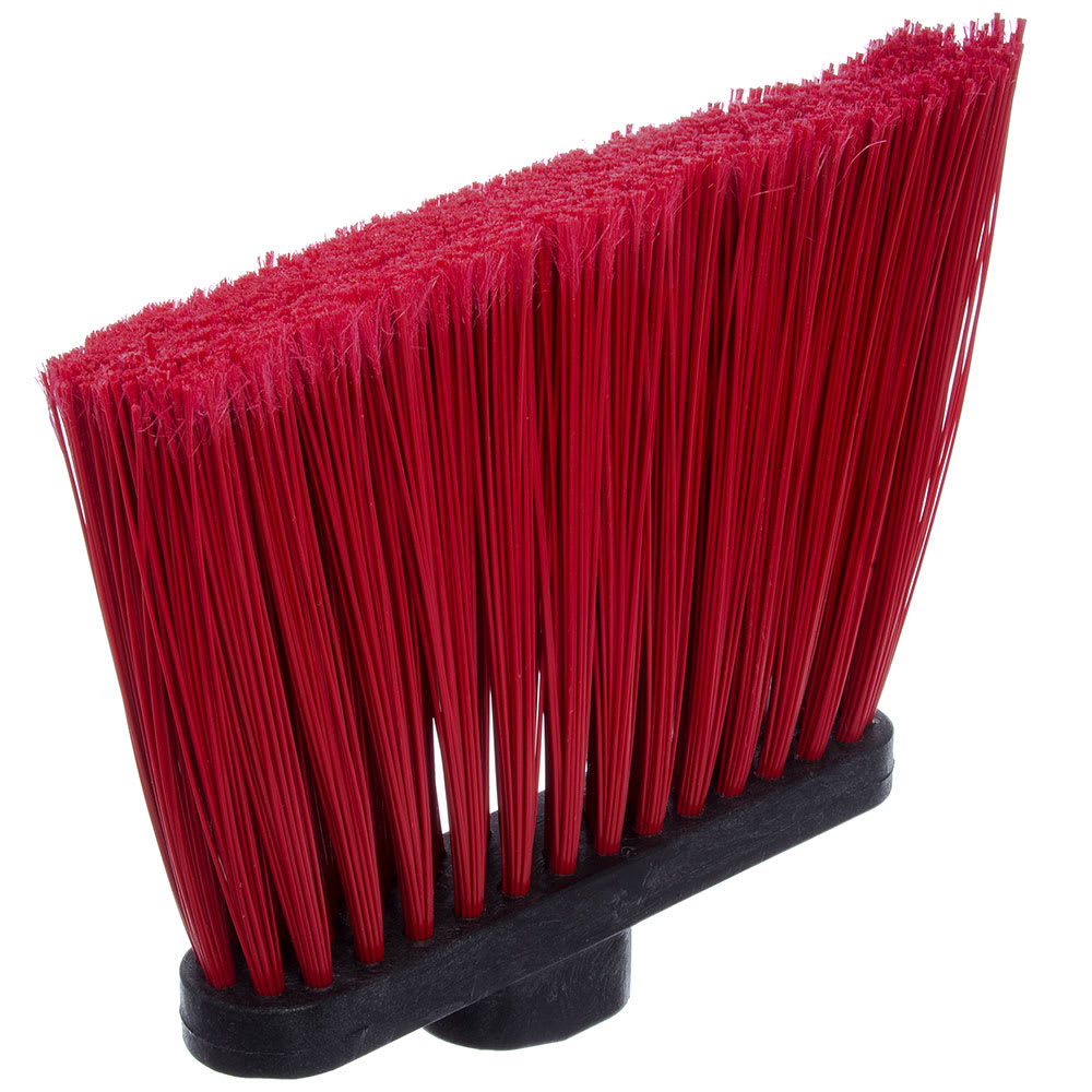 "Carlisle 3686705 12"" Angle Broom Head - Flagged Bristles, Polypropylene, Red"