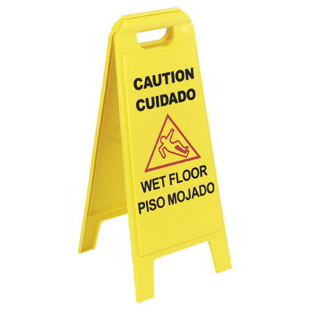 "Carlisle 3690200 Wet Floor Sign - 11x25""  2-Sided, French/Italian, Yellow"