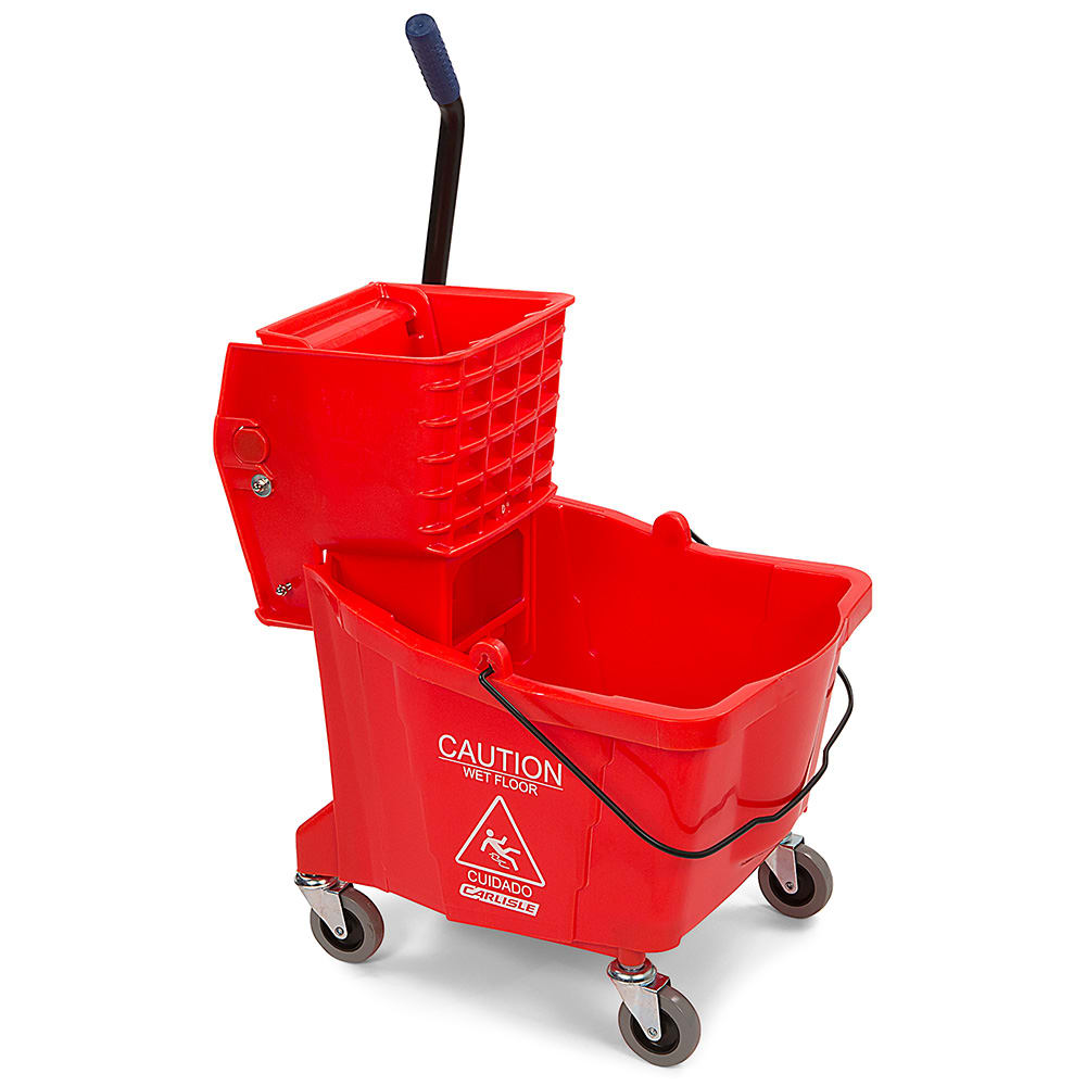 Carlisle 3690405 35-qt Mop Bucket Combo - Side Press Wringer, Polyethylene, Red