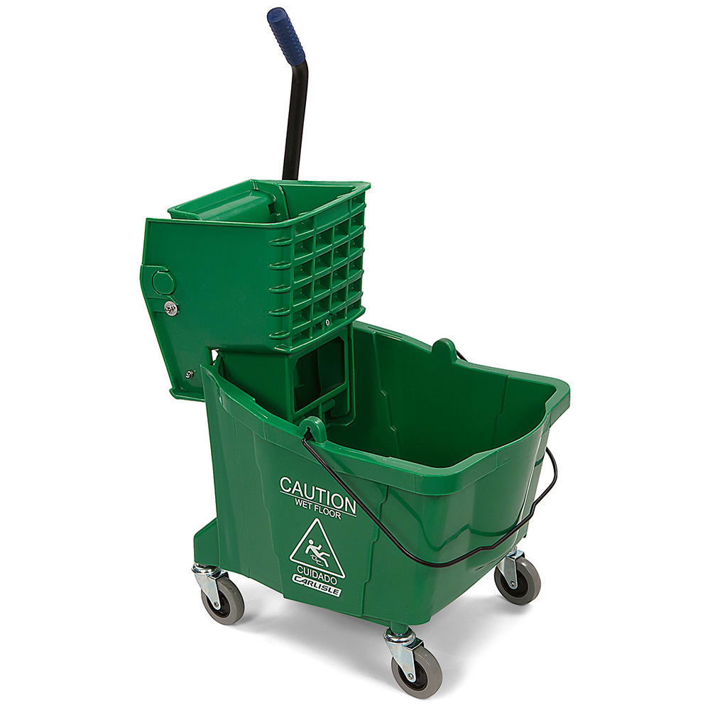 Carlisle 3690409 35 qt Mop Bucket Combo - Side Press Wringer, Polyethylene, Green