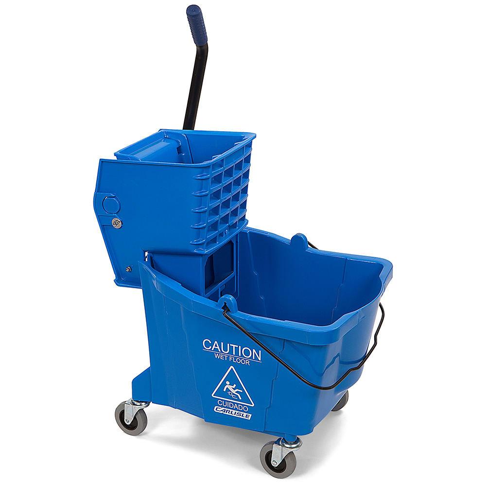 Carlisle 3690414 35 qt Mop Bucket Combo - Side Press Wringer, Polyethylene, Blue