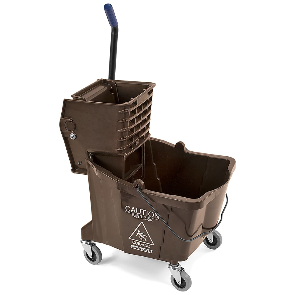 Carlisle 3690469 35-qt Mop Bucket Combo - Side Press Wringer, Polyethylene, Brown