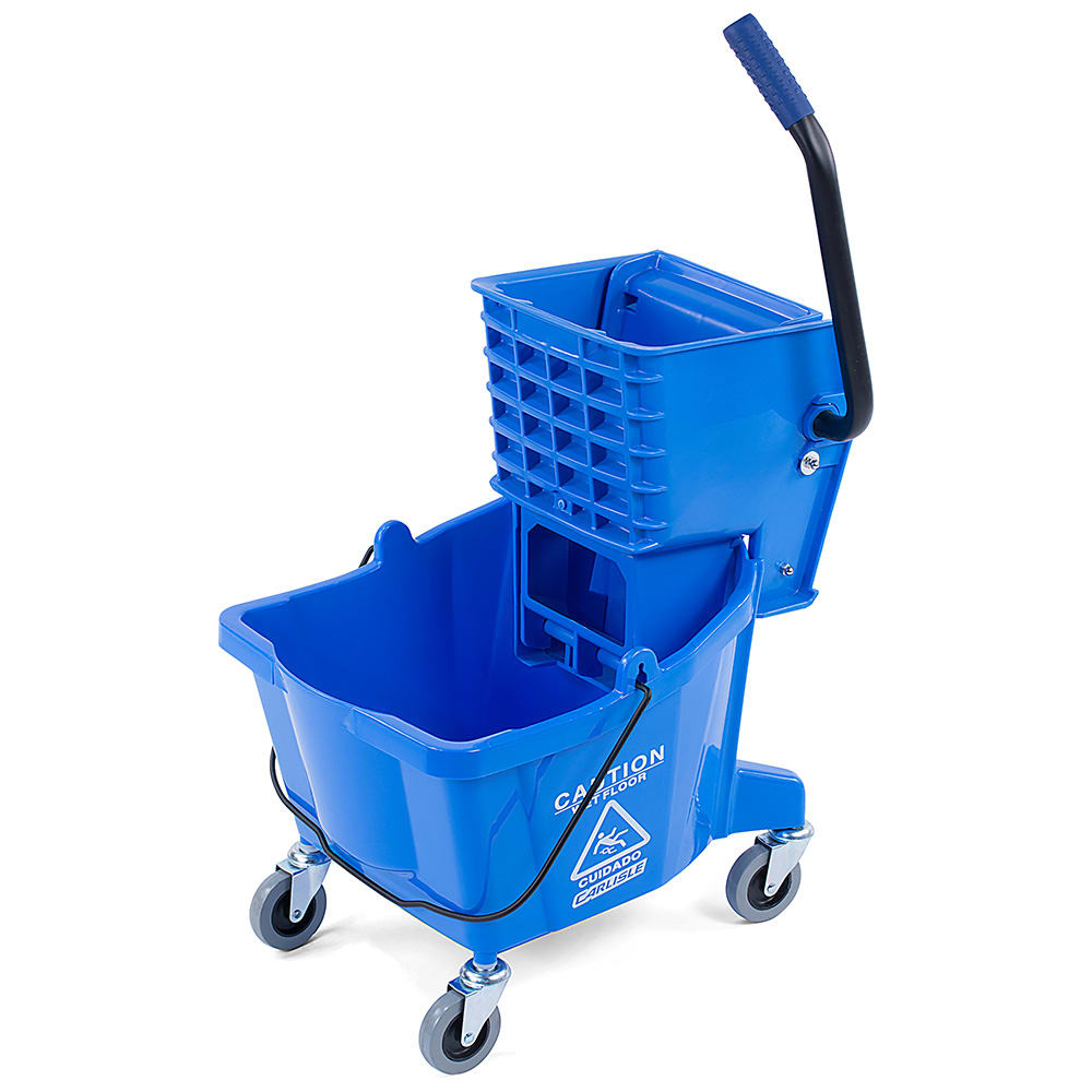 Carlisle 3690814 26 qt Mop Bucket Combo - Side Press Wringer, Polyethylene, Blue