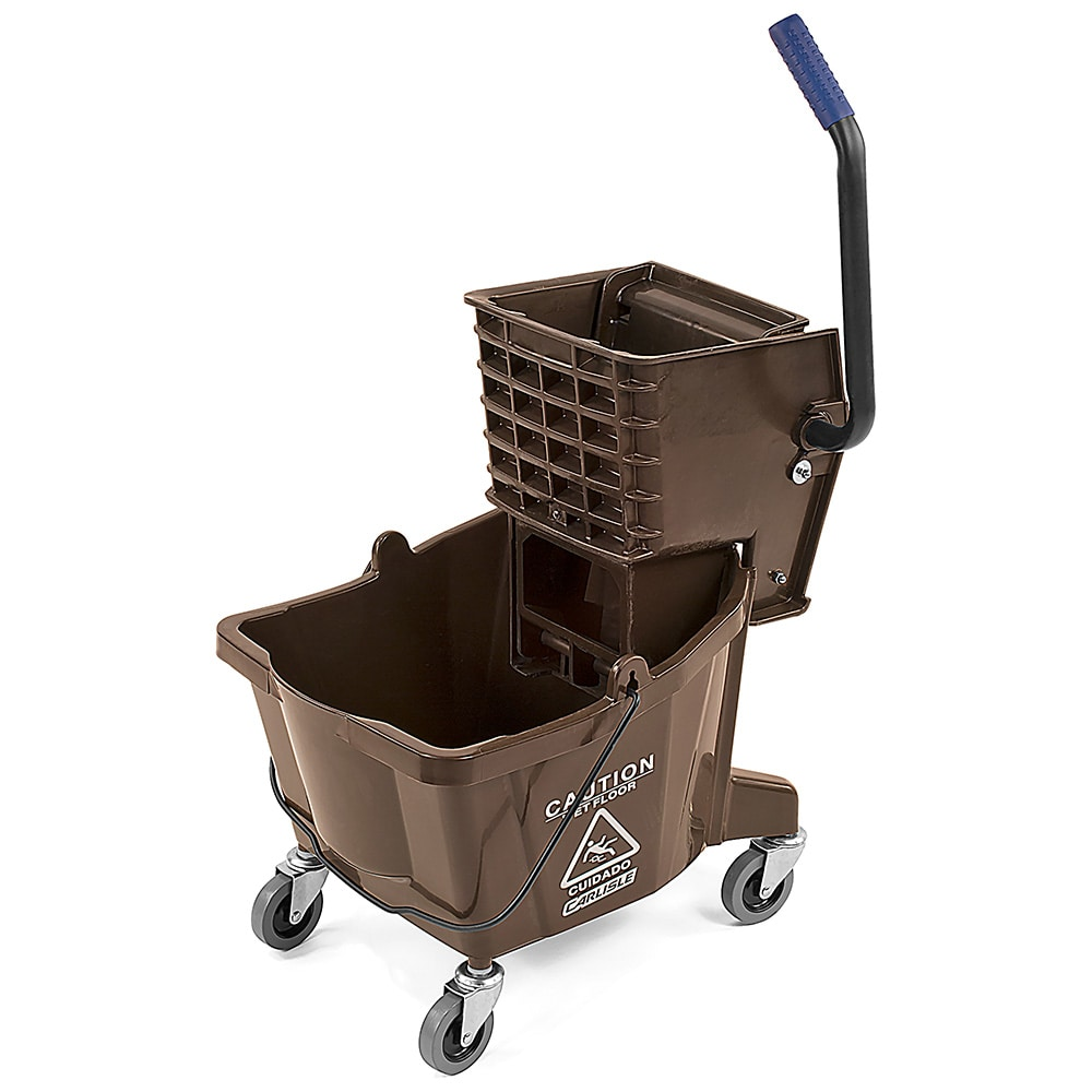 Carlisle 3690869 26 qt Mop Bucket Combo - Side Press Wringer, Polyethylene, Brown