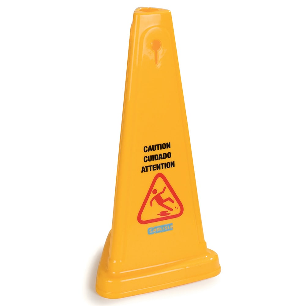 "Carlisle 3694004 Caution"" Cone Floor Sign - 13 1/2x27"" Triangular, Polypropylene, Yellow"