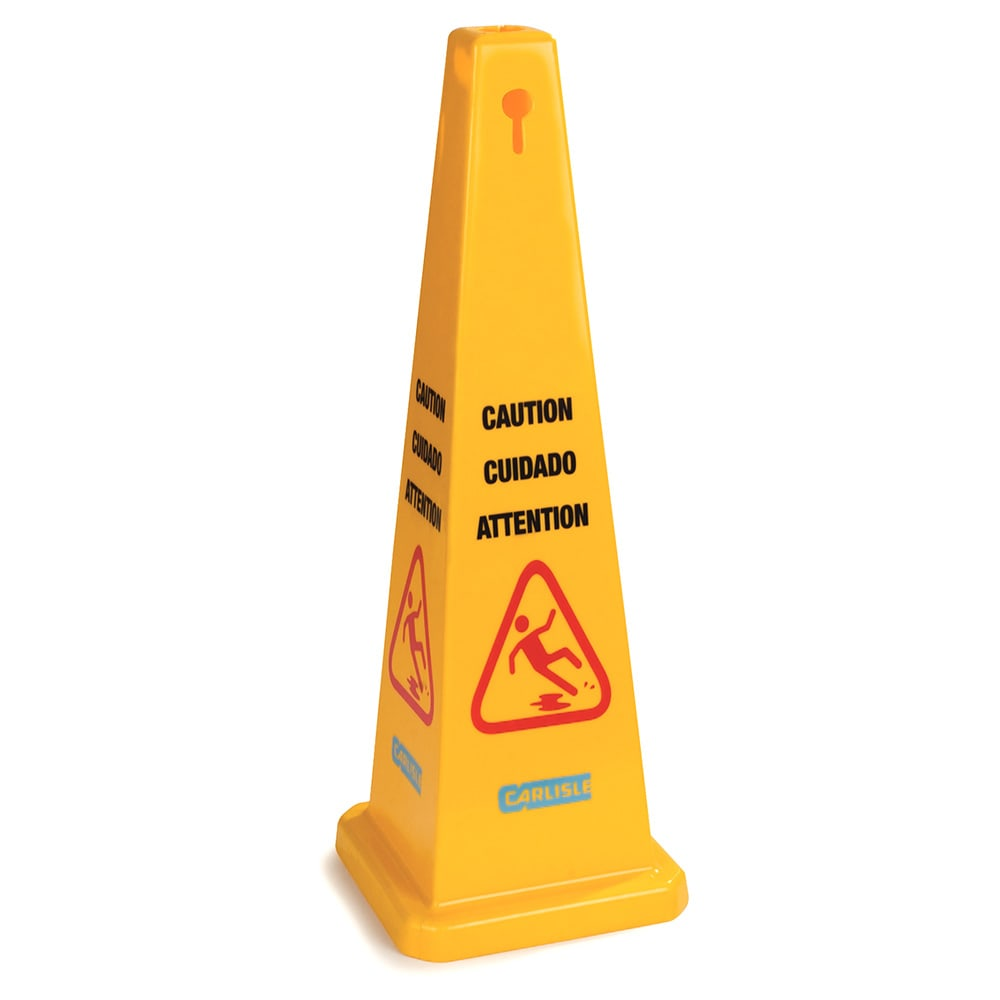 "Carlisle 3694104 Caution"" Cone Floor Sign - 13-1/2x36"" Triangular, Polypropylene, Yellow"