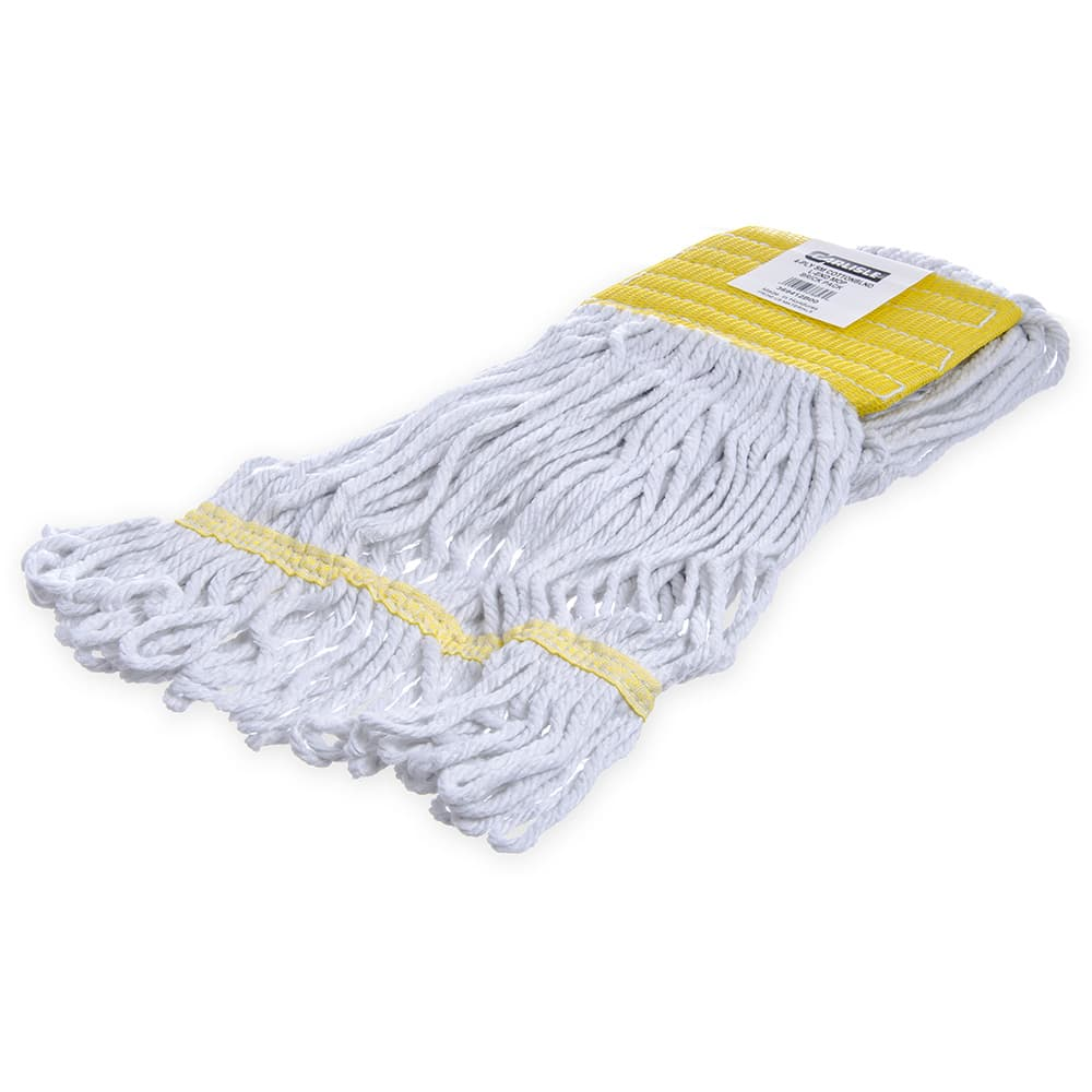 Carlisle 369412B00 Wet Mop Head - 4 Ply, Synthetic/Cotton Yarn, Yellow/White