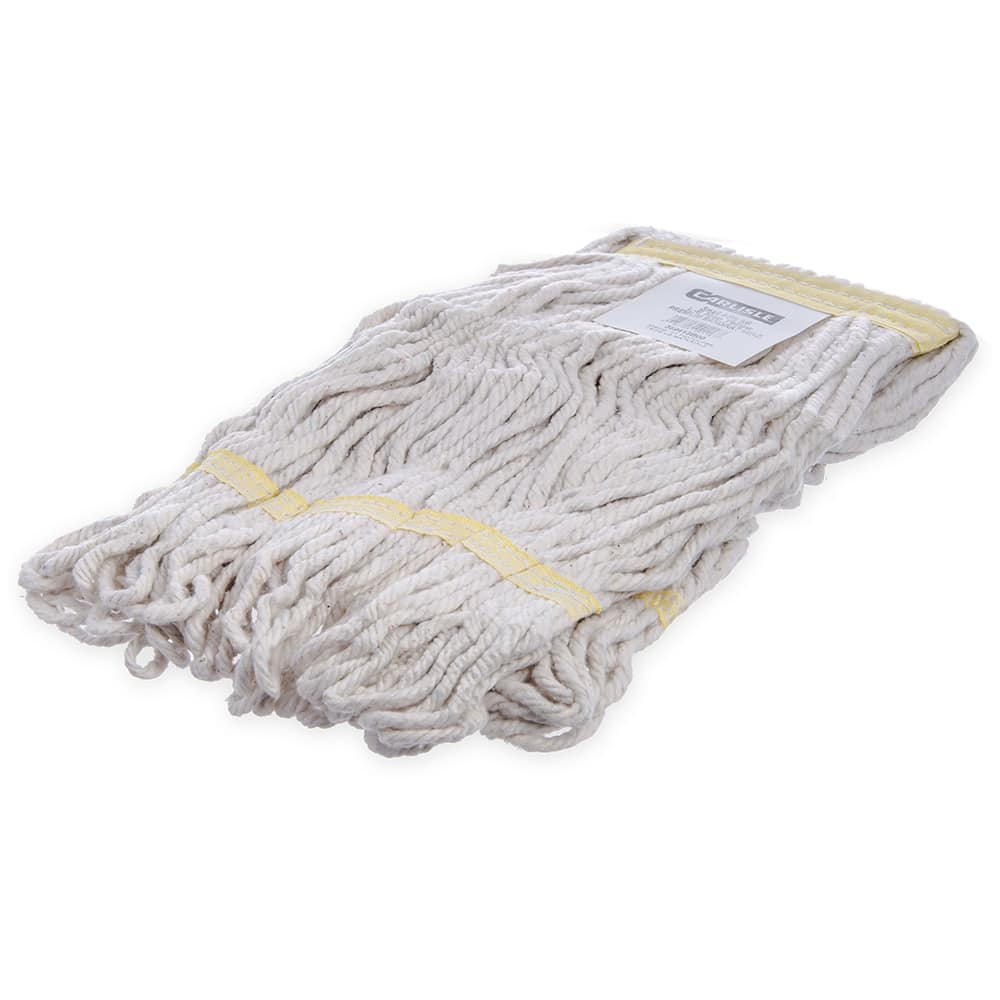 Carlisle 369413B00 Wet Mop Head - 4 Ply, Looped-End, Synthetic/Cotton Yarn, Yellow/White