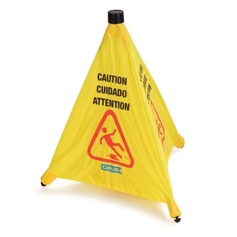 "Carlisle 3694204 Caution"" Pop-Up Cone Floor Sign - 18x20"" Multi-Lingual, Nylon, Yellow"