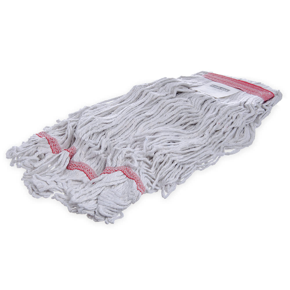 Carlisle 369425B00 Wet Mop Head - 4 Ply, Looped-End, Synthetic/Cotton Yarn, Red/White