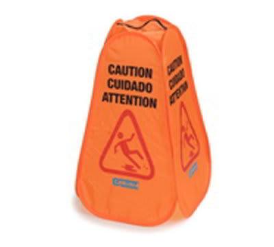 """Carlisle 36943-24 Caution"""" Pop-Up Cone Floor Sign - 13x23-3/4"""" Multi-Lingual, Nylon, Orange"""