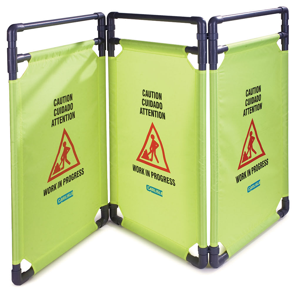 "Carlisle 36944-04 Caution"" Safety Barrier - 22-1/2x38-3/4"" 3-Panel, Nylon, Avocado"