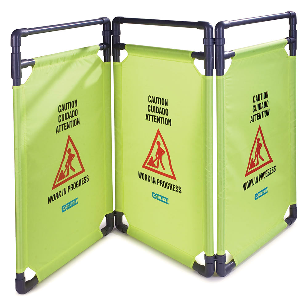 "Carlisle 3694504 Caution"" Safety Barrier - 22-1/2x38-3/4"" Multi-Lingual, Avocado"