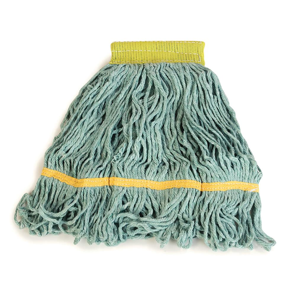 Carlisle 369472B09 Wet Mop Head - 4 Ply, Synthetic/Cotton Yarn, Green/Yellow