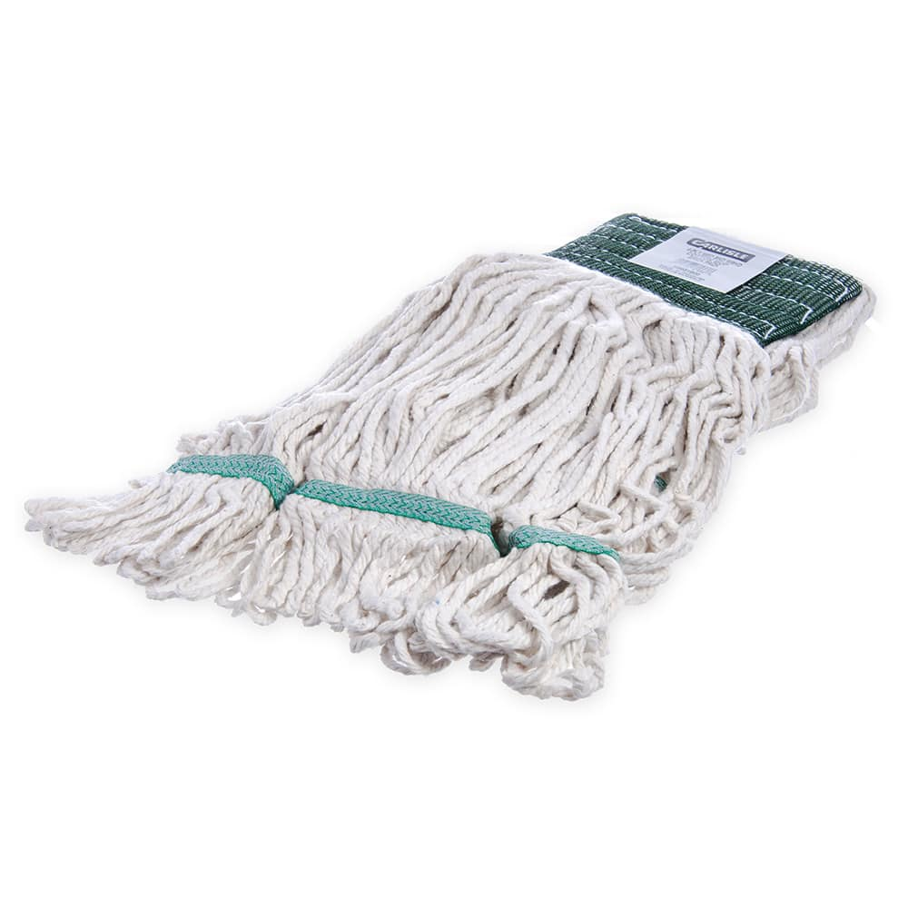 Carlisle 369551B00 Wet Mop Head - 4 Ply, Synthetic/Cotton Yarn, White/Green