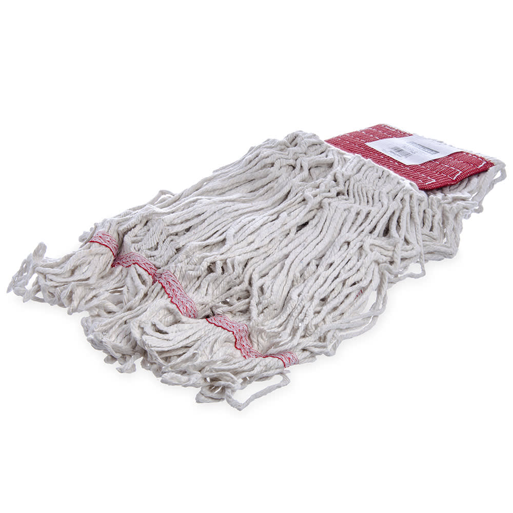 Carlisle 369552B00 Wet Mop Head - 4 Ply, Synthetic/Cotton Yarn, White/Red