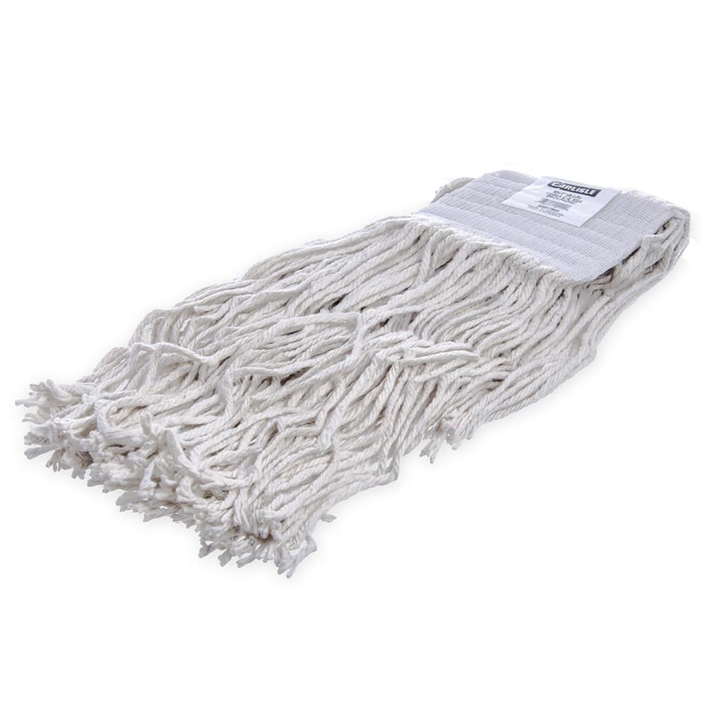 Carlisle 369817B00 Wet Mop Head - #24, 4-Ply, Cut-End, White Cotton Yarn