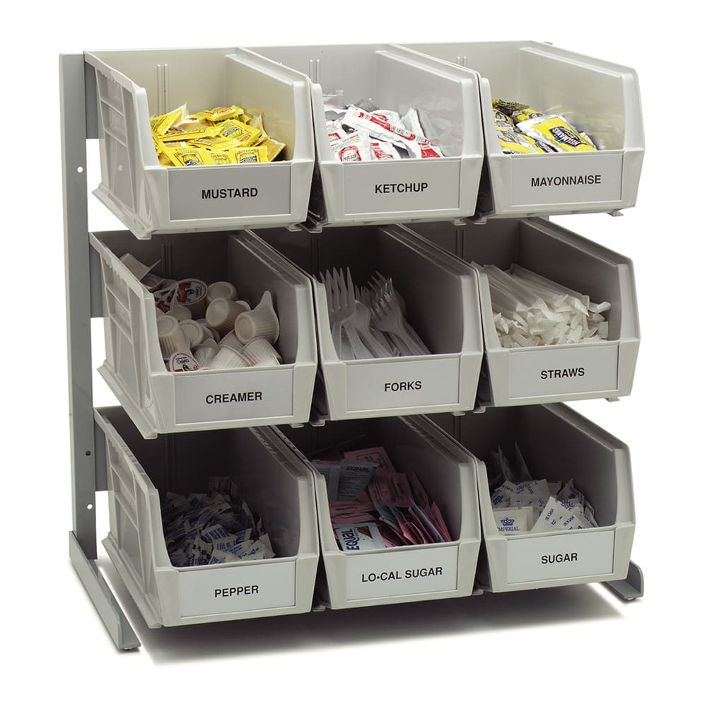 "Carlisle 381109LG 3-1/2-qt Condiment Packet Rack - 18x12x19"" Aluminum, Gray"