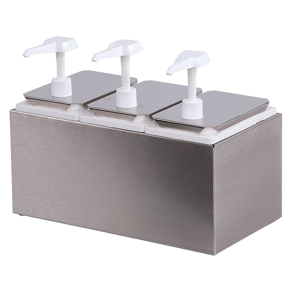 Carlisle 38503 Pump Style Condiment Dispenser w/ (3) 1 oz/Stroke, Stainless