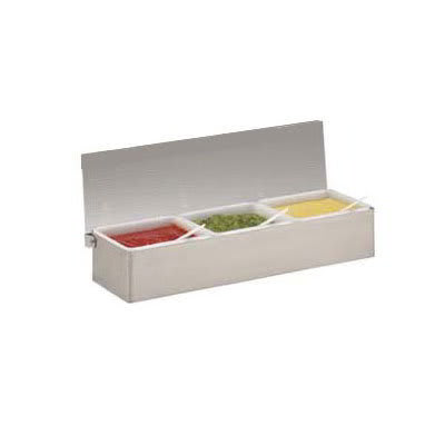 Carlisle 38704C Condiment Dispenser Caddy - (4)Pint Compartments, Countertop, Acrylic/Stainless