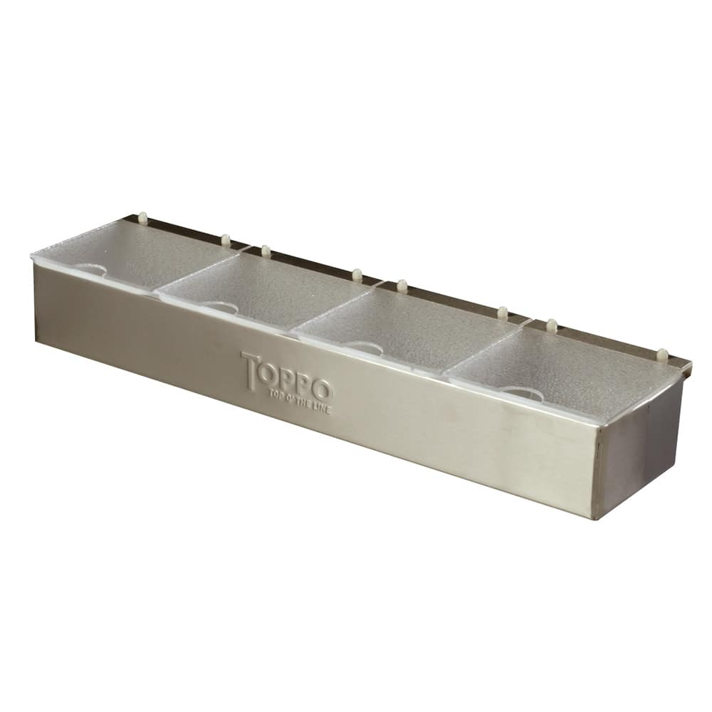 Carlisle 38704CNS Condiment Dispenser Caddy - (4)Quart Compartments, Countertop, Acrylic/Stainless
