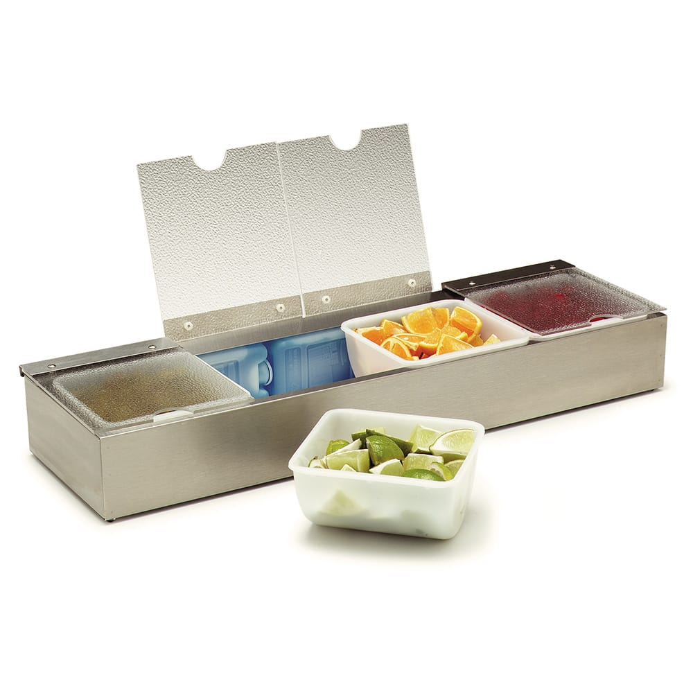 "Carlisle 38704CSIB Condiment Dispenser Caddy - 25 1/8x7 5/8x3 5/8"" Countertop, Acrylic/Stainless"