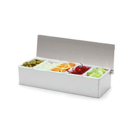 Carlisle 38705C Condiment Dispenser Caddy - (5)Pint Compartments, Countertop, Acrylic/Stainless