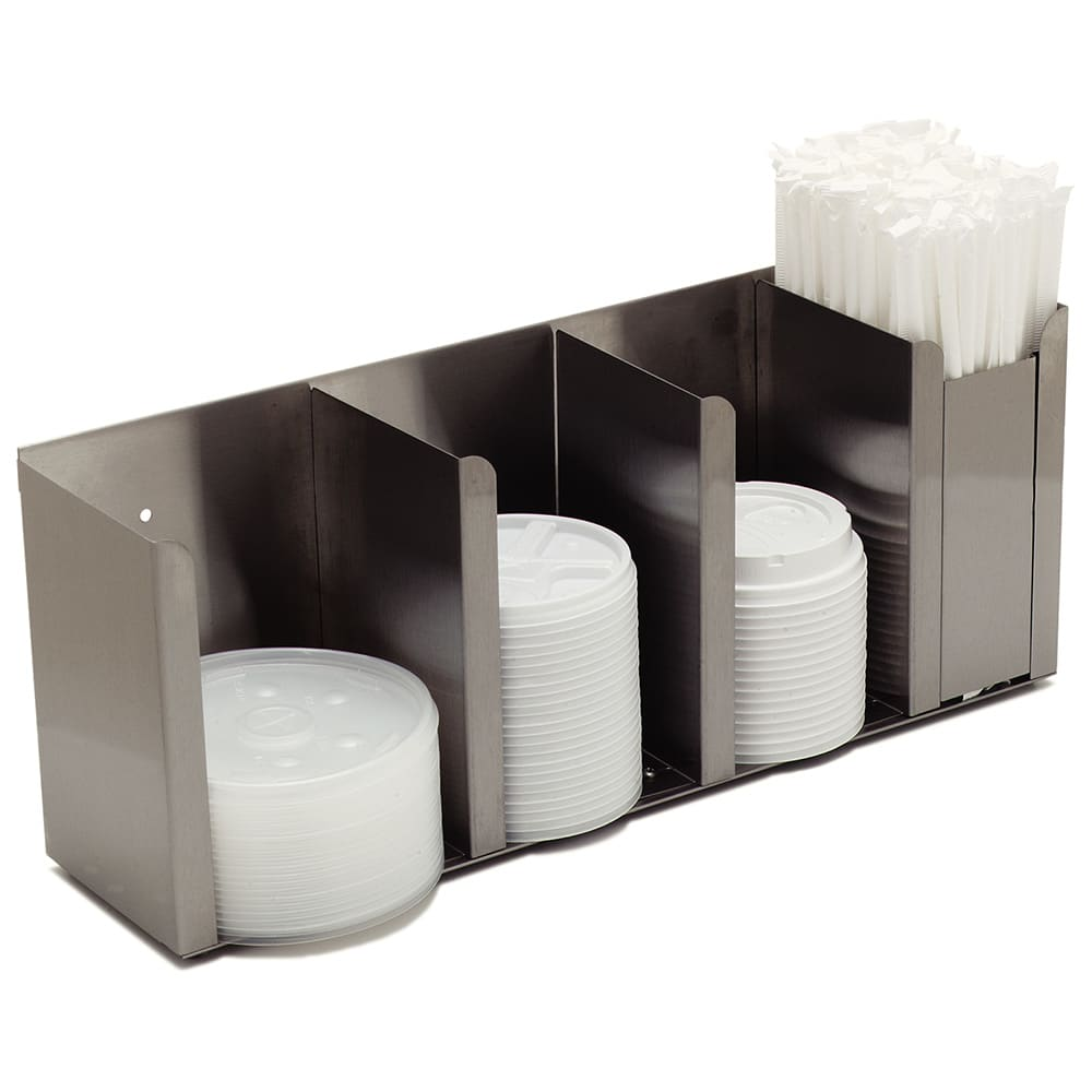 Carlisle 388804L Lid/Straw Dispenser - Wall/Countertop Design, Stainless