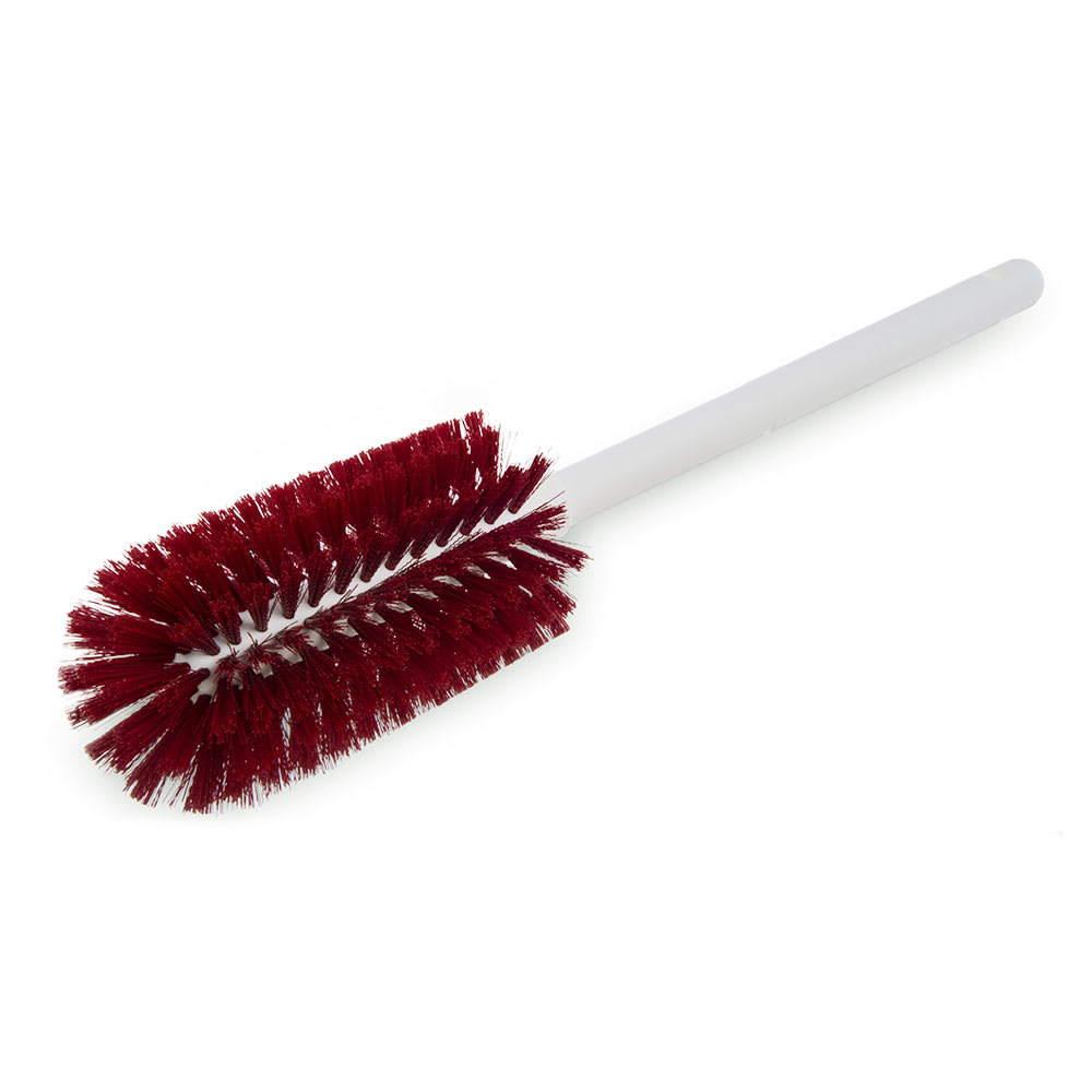 """Carlisle 4000105 16"""" Bottle Brush - Wire/Poly, White/Red"""